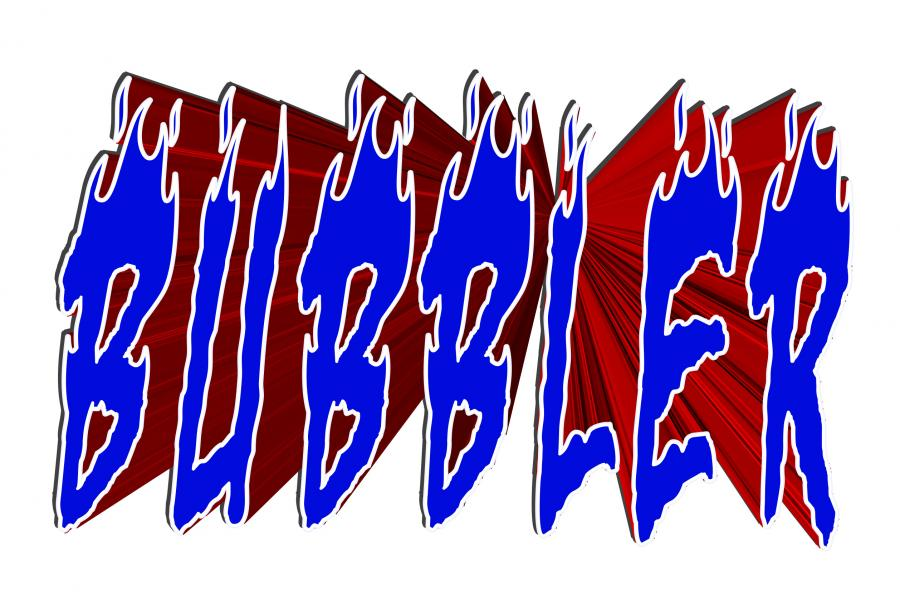 Blue and red letters spelling Bubbler
