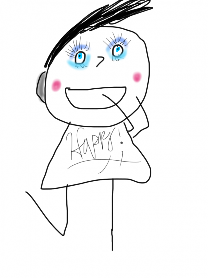 Drawing of smiling person with happy written on the shirt