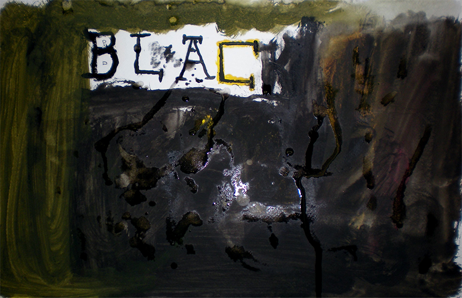 "the word ""black"" surrounded by black paint covering the image"