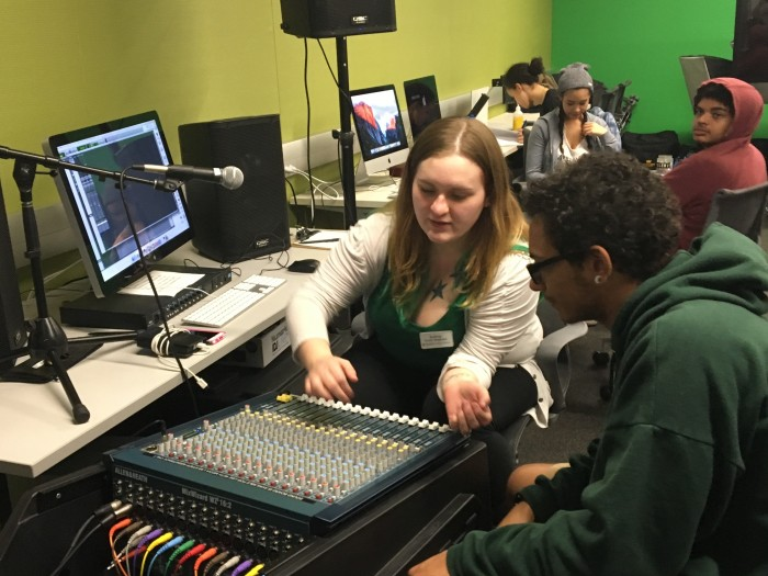 teen music production in Media Lab makerspace