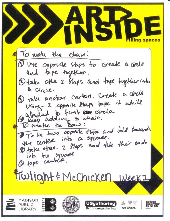 handwritten instructions from two teens for someone to continue their art piece next week