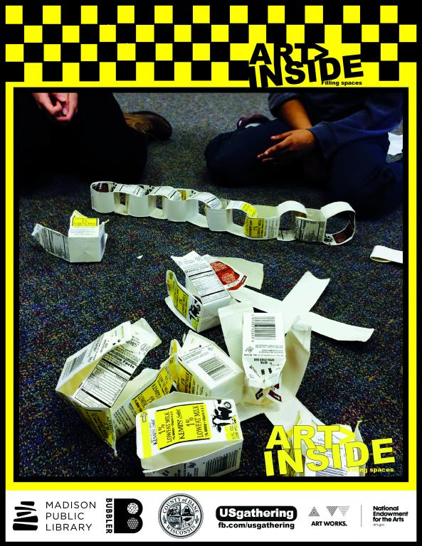 picture of teens creating art with milk cartons