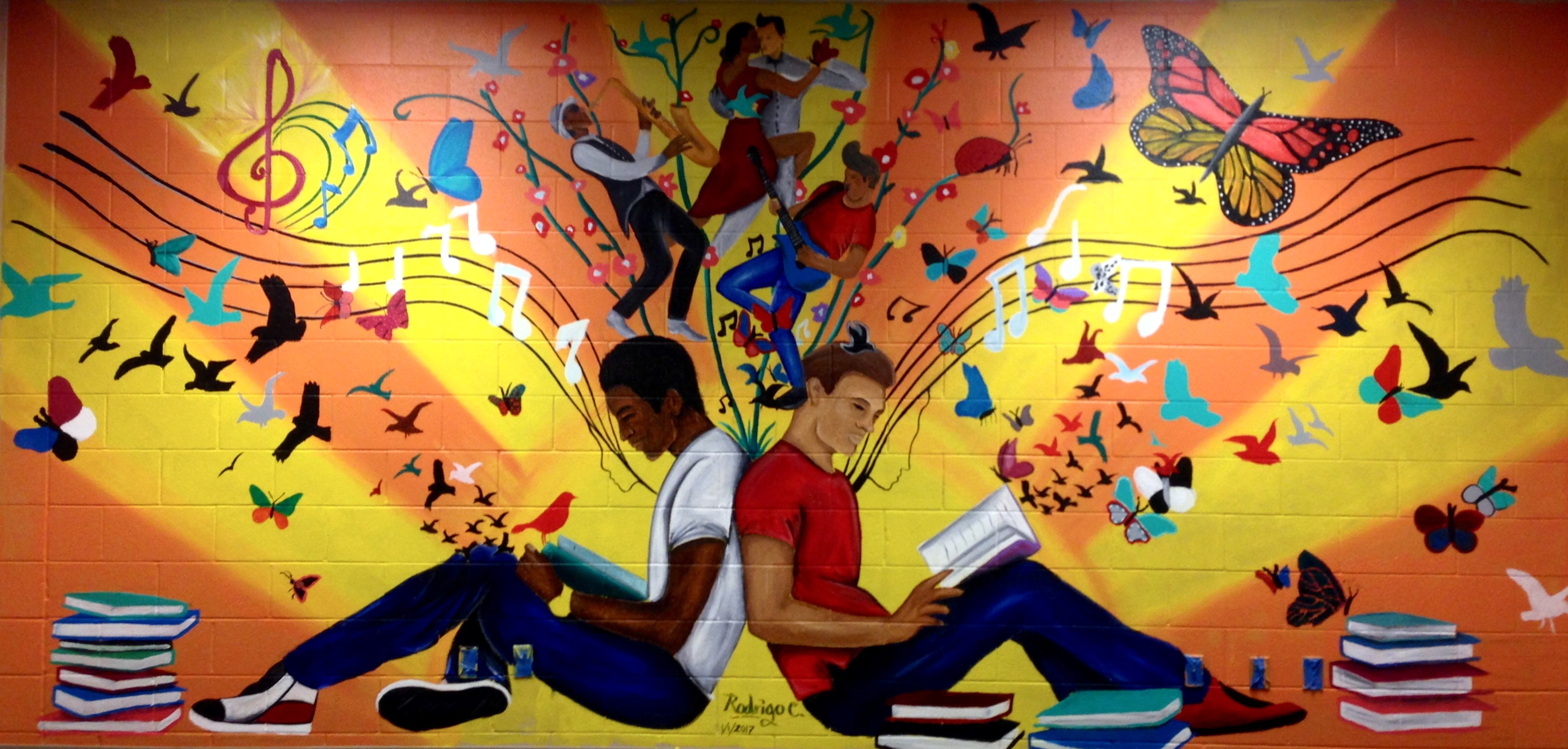 "Madison Public Library's Bubbler Making Justice ""Sunny Horizons"" mural residency with Rodrigo Carapia"