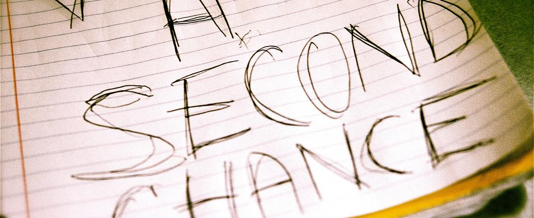 "Picture of large handwritten note reading ""A Second Chance"""