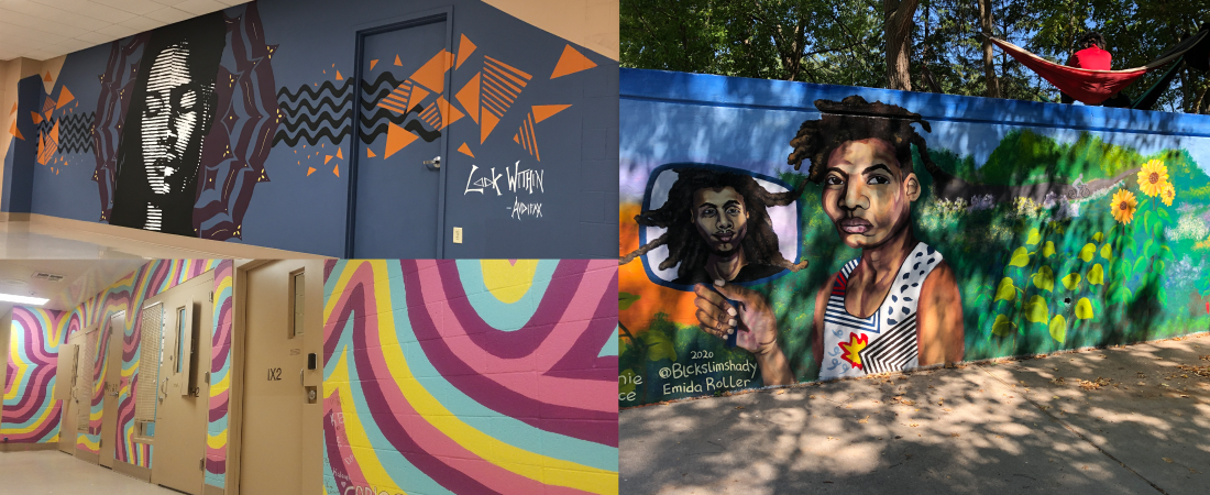 Madison Public Library's Bubbler Making Justice mural residency projects