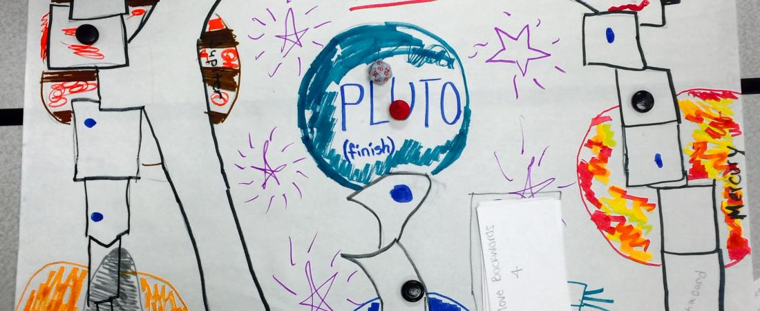 """Close up of board game """"Race to Pluto"""""""