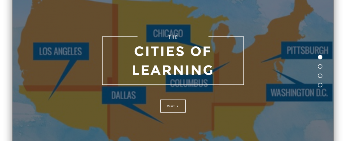 "map of ""Cities of Learning"" youth network across U.S.A."