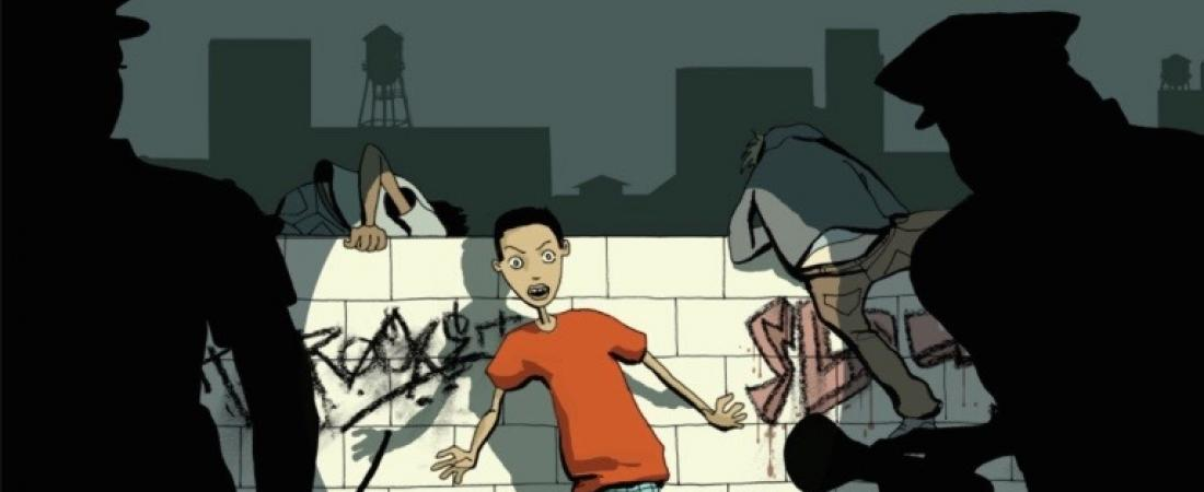 Cartoon of kid getting caught with graffiti