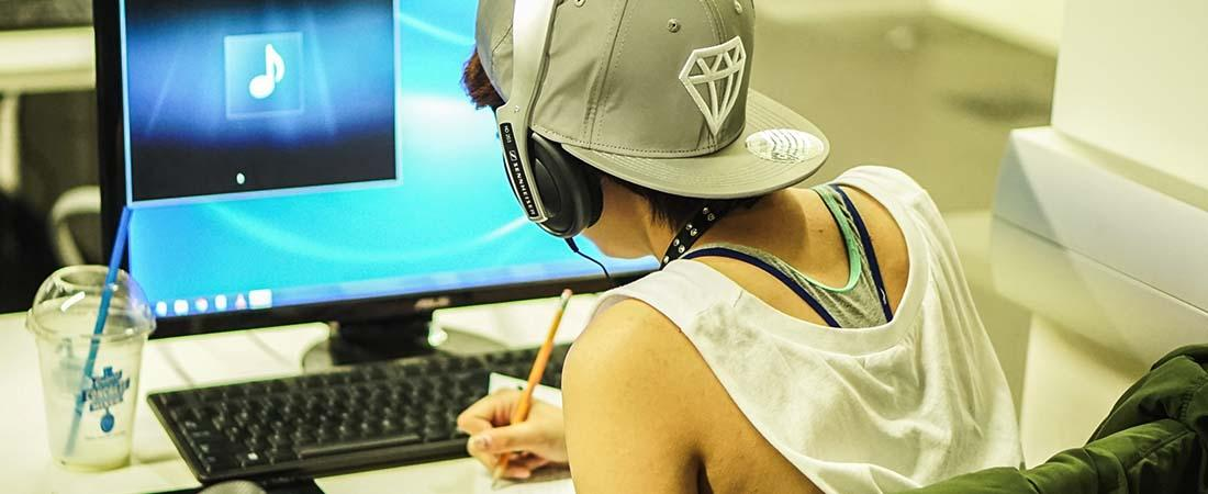 image of teen in Media Lab