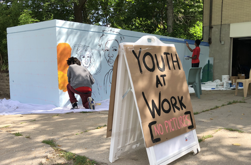 Madison Public Library's Bubbler Making Justice mural residency at Juvenile Court Shelter Home with Emida Roller and Shiloah Coley