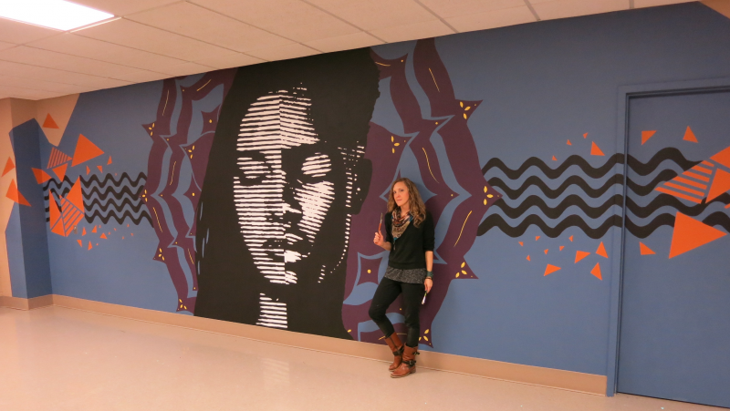 "Madison Public Library's Bubbler Making Justice ""Look Within"" mural residency with Audifax."