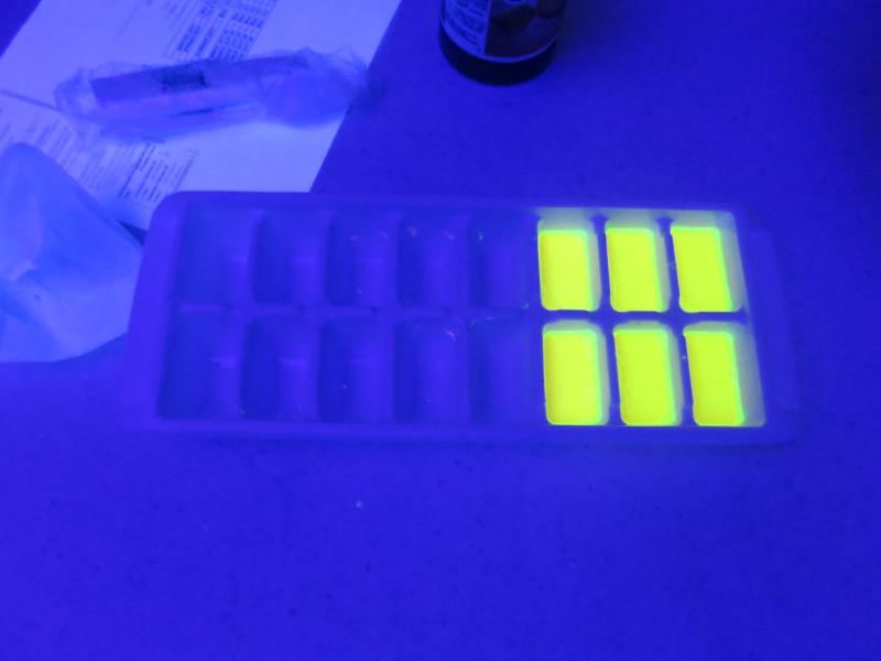 picture of chalk poured into mold during black light workshop with Carlos Gacharna