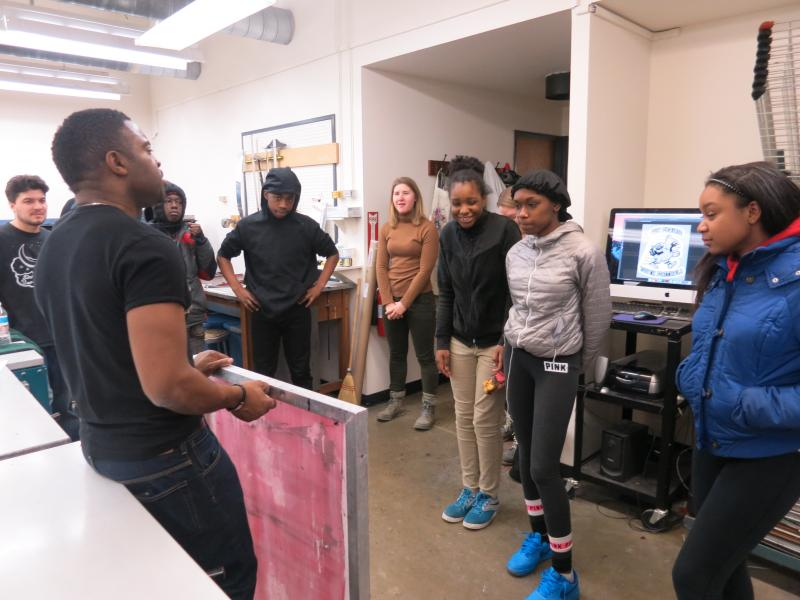 picture of teens learning how to screen print during 15-week Air It Out semester