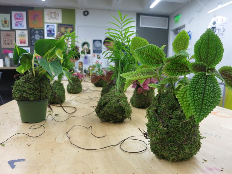 picture of teens making String Gardens during 15-week semester of Air It Out
