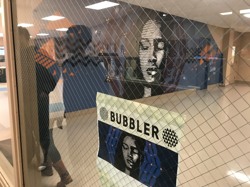 "Madison Public Library Bubbler Making Justice ""look within"" mural residency with Audifax"
