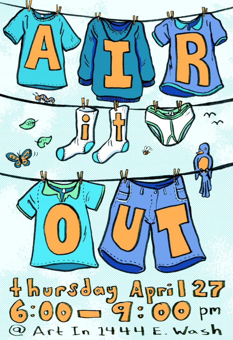 flyer invite for Air It Out teen art exhibition