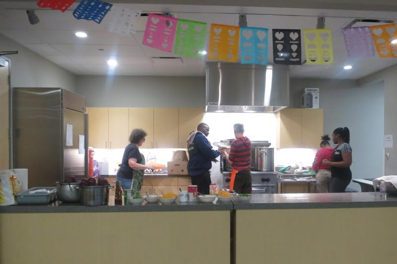 Participants in Meadowood Neighborhood Center kitchen