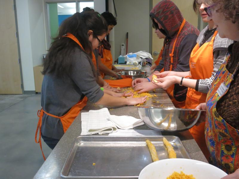 Participants making bread