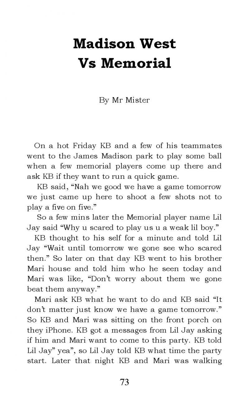 """""""Madison West vs Memorial"""" short story"""