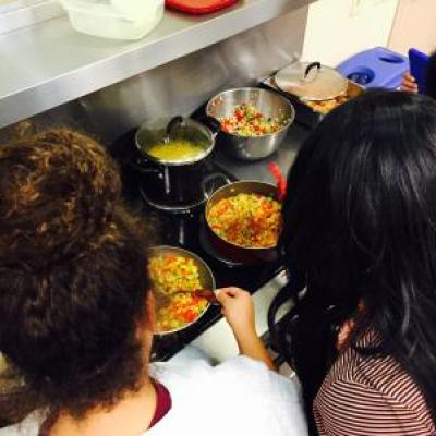 Teens making succotash