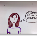 "Picture of animation with word bubble reading, ""I should go on a boy moratorium"""