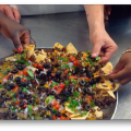 teens preparing loaded nachos