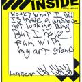 """handwritten teen reflection from Lava Bear, explaining the fun he has with his """"art group"""""""